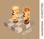 isometric cartoon chess pieces...   Shutterstock .eps vector #1116257450
