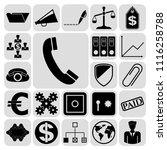 set of 22 business symbols of... | Shutterstock .eps vector #1116258788