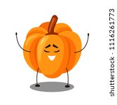 vector emoji orange pumpkin... | Shutterstock .eps vector #1116261773