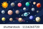 solar system vector cartoon... | Shutterstock .eps vector #1116263720