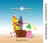 summer time with airplane... | Shutterstock .eps vector #1116266576