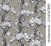 seamless pattern with ink peony ... | Shutterstock . vector #1116267800