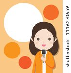 a woman is holding a microphone ... | Shutterstock .eps vector #1116270659
