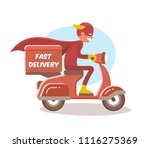 fast delivery  the boy in a... | Shutterstock .eps vector #1116275369