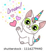 dream  a cat is a unicorn with... | Shutterstock .eps vector #1116279440