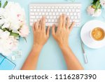 flat lay home office workspace... | Shutterstock . vector #1116287390