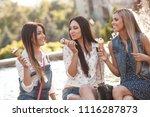 girlfriends eating ice cream | Shutterstock . vector #1116287873