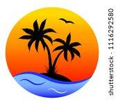 round cartoon card  tropical ... | Shutterstock . vector #1116292580