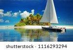 private getaway . sailboat... | Shutterstock . vector #1116293294