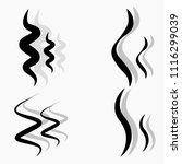 set of hand drawn smoke steam... | Shutterstock .eps vector #1116299039