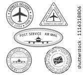 postmarks. black ink postal... | Shutterstock .eps vector #1116318806
