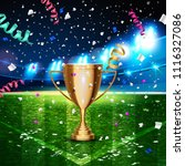 football cup in the soccer... | Shutterstock .eps vector #1116327086