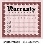 red vintage warranty template.... | Shutterstock .eps vector #1116336098