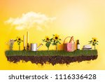 summer picnic basket on grass... | Shutterstock . vector #1116336428