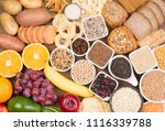 food rich in carbohydrates  top ... | Shutterstock . vector #1116339788