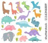 cute dinosaur illustration. set ... | Shutterstock .eps vector #1116346889