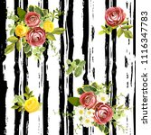 seamless striped style floral...   Shutterstock .eps vector #1116347783