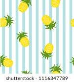 seamless striped pineapple... | Shutterstock .eps vector #1116347789