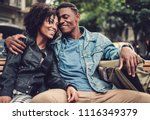 young happy black couple...   Shutterstock . vector #1116349379