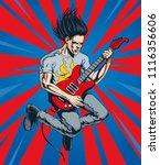 crazy rock guitar player jumps. ... | Shutterstock .eps vector #1116356606