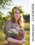 midsummer in latvia ... | Shutterstock . vector #1116362606