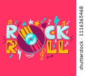 rock n roll label with vinyl....   Shutterstock .eps vector #1116365468