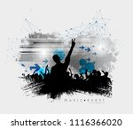 crowd fans at live concert | Shutterstock .eps vector #1116366020