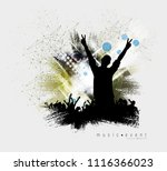 crowd fans at live concert | Shutterstock .eps vector #1116366023