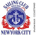 anchor sailing academy t shirt  ... | Shutterstock . vector #1116376460
