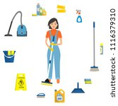 cleaning woman surrounded by... | Shutterstock .eps vector #1116379310