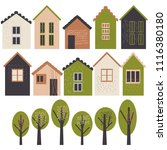 cute houses and trees. vector...   Shutterstock .eps vector #1116380180