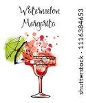 watermelon margarita.watercolor ... | Shutterstock .eps vector #1116384653