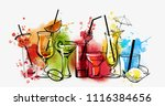 cocktails banner. watercolor... | Shutterstock .eps vector #1116384656
