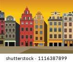 sunset view of houses on... | Shutterstock .eps vector #1116387899