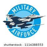 military plane fired a missile. ... | Shutterstock .eps vector #1116388553