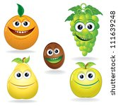set of funny fruits. cartoon... | Shutterstock . vector #111639248