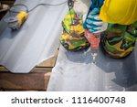 technician working renew the... | Shutterstock . vector #1116400748