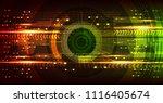 camera cyber hi tech eye on red ... | Shutterstock .eps vector #1116405674