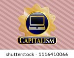 golden emblem with laptop icon ...   Shutterstock .eps vector #1116410066