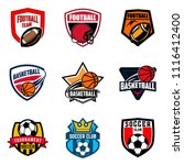 set of soccer football and... | Shutterstock .eps vector #1116412400