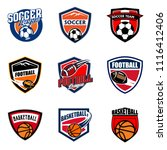 set of soccer football and... | Shutterstock .eps vector #1116412406