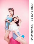 two travel woman take camera... | Shutterstock . vector #1116414830