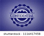 confidential badge with denim... | Shutterstock .eps vector #1116417458