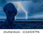 grey alien the dark side of an... | Shutterstock . vector #1116424796