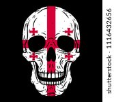 human skull with georgian flag... | Shutterstock .eps vector #1116432656