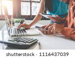 two business working with... | Shutterstock . vector #1116437039