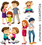 a set of people fighting... | Shutterstock .eps vector #1116439526