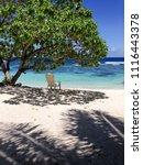 solitude   a single deckchair... | Shutterstock . vector #1116443378