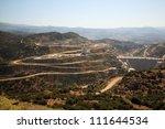 Roads down to Cine Dam Aydin Province Turkey - stock photo