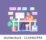 young guy programmer sitting at ... | Shutterstock .eps vector #1116461996